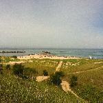 view of beach from boardwalk
