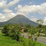 View of Arenal Volcano from outside table at Kappa Sushi