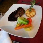 Grilled Sirloin Tip Served with a Five Pepper and Caramelized Apple Sauce