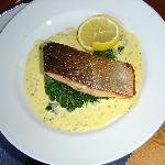 Pan fried salmon on spinach with Hollandaise sauce