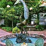 mermaid fountain in courtyard