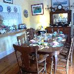 The dining room set for breakfast