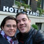 I and my wife in front Zandbergen Hotel.