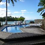 the pool and loungers