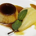Creme Caramel with Poached Pear