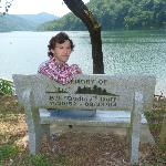 Me, sitting on the memorial bench posing for a picutre.
