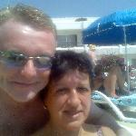 me and ann at the pool in tenerife