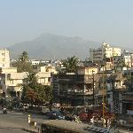 view from the room on the Junagadh city and the mountain