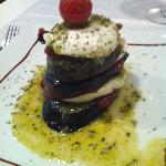 Grilled aubergine with Mozerella topped with pesto