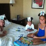 The DEHARO family playing a game in the king suite . June 27,2012