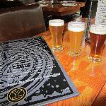 sample glasses and beer menu