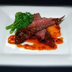 Kangaroo (medium rare) w kumara mash, steamed broccolini & lemon myrtle pepper sauce
