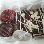 Two truffles and some chocolate bark