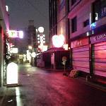 夜になるとホテルへの道はこんな様子