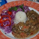 Lamb Santorini with red cabbage and rice