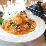 Capellini - angel hair pasta with sautéed jumbo shrimp, scallops & fresh baby spinach in blush s