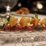 Steak tartare with mustard ice cream