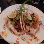 Fish Tacos with side of black beans and Mango