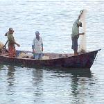 Locals fishing in the shallow bay next to the Bahia Blanca