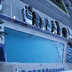 View of the pool and parking from our room