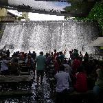 View of the waterfall from the dining area