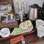 incredible welcome basket with coffee, tea, fresh milk and homemade cupcakes!