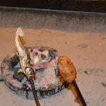 囲炉裏で焼いた、岩魚と五平餅