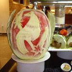 Melon carving in the restaurant
