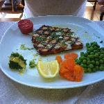 Lovely piece of swordfish in lemon olive oil - yummy