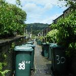 The alleyway between two rows of houses to hide away the bins, and washing lines.