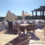 most of terrace bar set up for a wedding