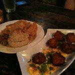 hummus plate and hush puppies