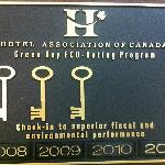 3 Green Keys in ECO Rating Program by Hotel Association of Canada