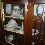 china cabinet with models of crushed skulls of Father and Step Mother