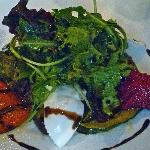 First course salad with fresh mozzarella and beets