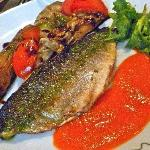 Second course trout with tomato coulis and vegies