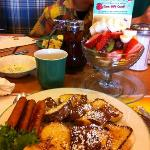 french toast with sausage and fruits