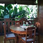 the small dining table in the terrace