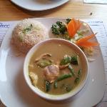 Main - Green Thai Curry with Chicken & egg fried rice - delicious!