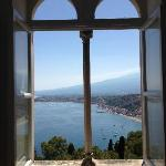 Window in the hallway looking out to Etna