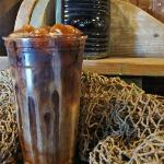 Starboards Iced Coffee made with handcrafted coffee ice cubes.