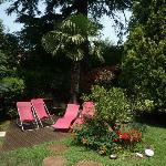 Espace vert et détente dans le jardin face à la terrasse
