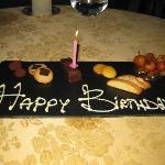 Petit four birthday cake