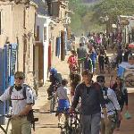 The main street in San Pedro, CARRACOLES (restaurants and tour companies and a few grocery shops