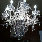 The beautiful chandelier in the dining room