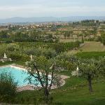 Uitzicht vanaf balkon op zwembad (Poggio Olivo)