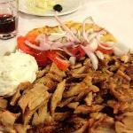 Giros with pita, salad and pita bread