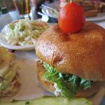 Chicken salad sandwich, cole slaw and potato salad