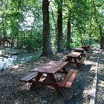 Great picnic area on the river behind the Hampton