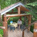 Author enjoys the deck in the woods